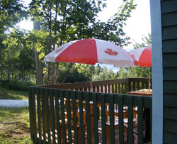 Relax outside on the deck at the Hideaway Campground office  and enjoy, Oysters on the half shell, Lobsters and Snow Crab.
